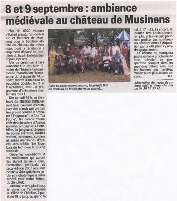 Article de la Tribune de Genève pour Musinens 2007