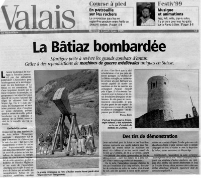 Article sur La Bâtiaz 1999