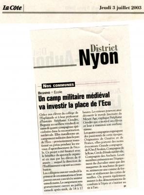 Article de la Cote sur Begnins 2003