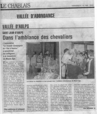 Article du Chablais sur St Jean d'Aulps 2002